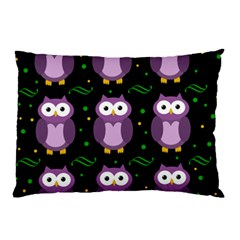 Halloween Purple Owls Pattern Pillow Case by Valentinaart