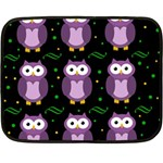 Halloween purple owls pattern Double Sided Fleece Blanket (Mini)