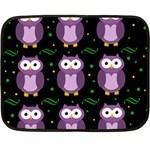 Halloween purple owls pattern Double Sided Fleece Blanket (Mini)  35 x27 Blanket Back