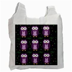 Halloween Purple Owls Pattern Recycle Bag (one Side)