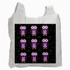 Halloween Purple Owls Pattern Recycle Bag (two Side)
