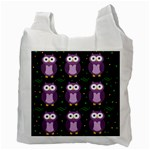Halloween purple owls pattern Recycle Bag (Two Side)  Back