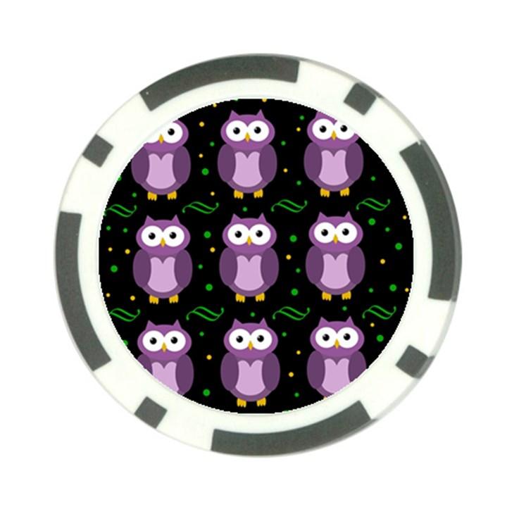 Halloween purple owls pattern Poker Chip Card Guards (10 pack)