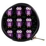 Halloween purple owls pattern Mini Makeup Bags Front