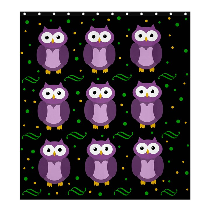 Halloween purple owls pattern Shower Curtain 66  x 72  (Large)