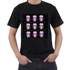 Halloween Purple Owls Pattern Men s T Shirt (black)
