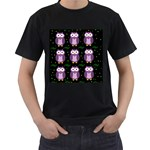 Halloween purple owls pattern Men s T-Shirt (Black) Front