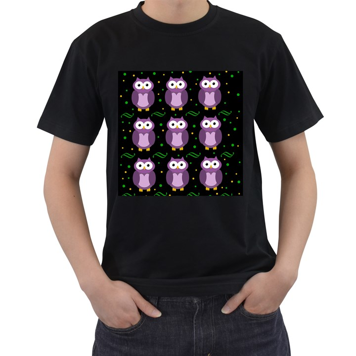 Halloween purple owls pattern Men s T-Shirt (Black)