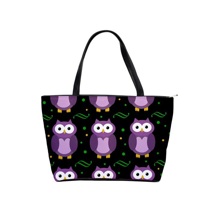 Halloween purple owls pattern Shoulder Handbags