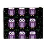 Halloween purple owls pattern Cosmetic Bag (XL) Back