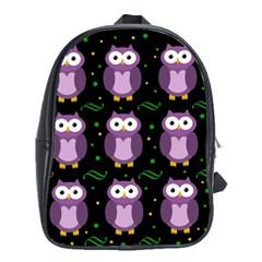 Halloween Purple Owls Pattern School Bags(large)