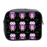 Halloween purple owls pattern Mini Toiletries Bag 2-Side Back