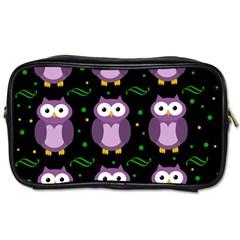 Halloween Purple Owls Pattern Toiletries Bags 2 Side