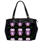 Halloween purple owls pattern Office Handbags (2 Sides)