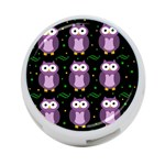 Halloween purple owls pattern 4-Port USB Hub (One Side)