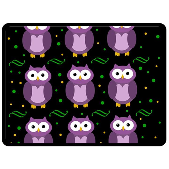 Halloween purple owls pattern Fleece Blanket (Large)