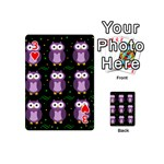 Halloween purple owls pattern Playing Cards 54 (Mini)  Front - Heart3