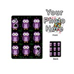Halloween purple owls pattern Playing Cards 54 (Mini)  Front - Spade5