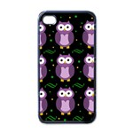 Halloween purple owls pattern Apple iPhone 4 Case (Black)
