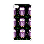Halloween purple owls pattern Apple iPhone 4 Case (White) Front
