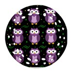 Halloween purple owls pattern Round Filigree Ornament (2Side)