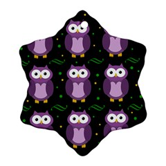 Halloween Purple Owls Pattern Snowflake Ornament (2 Side) by Valentinaart