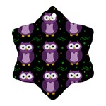Halloween purple owls pattern Snowflake Ornament (2-Side)