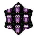 Halloween purple owls pattern Snowflake Ornament (2-Side) Back