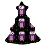Halloween purple owls pattern Christmas Tree Ornament (2 Sides) Back