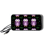 Halloween purple owls pattern Portable Speaker (Black)