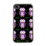 Halloween purple owls pattern Apple iPhone 4 Case (Clear)