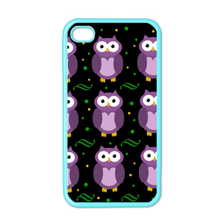 Halloween purple owls pattern Apple iPhone 4 Case (Color)