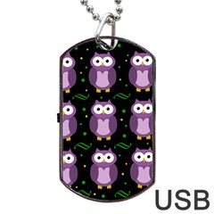 Halloween Purple Owls Pattern Dog Tag Usb Flash (one Side)