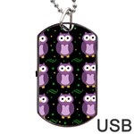 Halloween purple owls pattern Dog Tag USB Flash (Two Sides)  Back