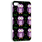 Halloween purple owls pattern Apple iPhone 4/4s Seamless Case (White) Front