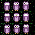 Halloween purple owls pattern Happy Birthday 3D Greeting Card (8x4) Inside