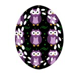 Halloween purple owls pattern Ornament (Oval Filigree)