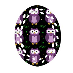 Halloween Purple Owls Pattern Oval Filigree Ornament (2 Side)