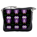 Halloween purple owls pattern Messenger Bags