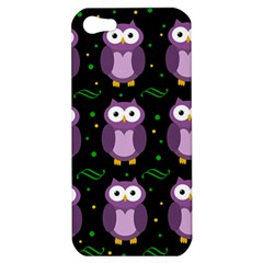 Halloween Purple Owls Pattern Apple Iphone 5 Hardshell Case by Valentinaart