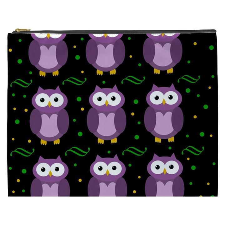 Halloween purple owls pattern Cosmetic Bag (XXXL)