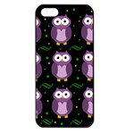 Halloween purple owls pattern Apple iPhone 5 Seamless Case (Black)
