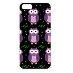 Halloween purple owls pattern Apple iPhone 5 Seamless Case (White) Front