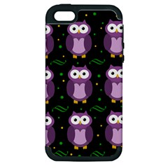 Halloween Purple Owls Pattern Apple Iphone 5 Hardshell Case (pc+silicone)