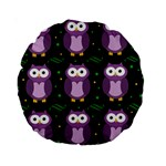 Halloween purple owls pattern Standard 15  Premium Round Cushions
