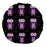 Halloween purple owls pattern Large 18  Premium Round Cushions