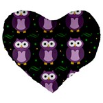 Halloween purple owls pattern Large 19  Premium Heart Shape Cushions