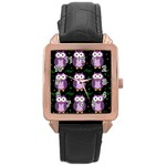 Halloween purple owls pattern Rose Gold Leather Watch