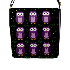 Halloween Purple Owls Pattern Flap Messenger Bag (l)  by Valentinaart