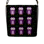 Halloween purple owls pattern Flap Messenger Bag (L)